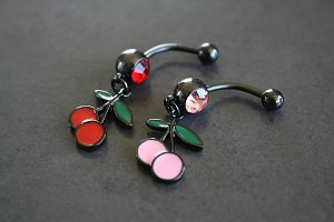 Hand Painted Cherries Belly Ring