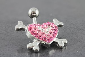 Heart and Crossbones Belly Ring