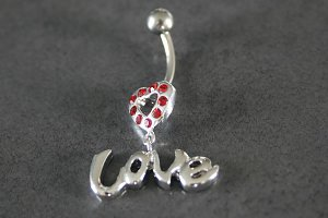 Heart Love Dangle Belly Ring