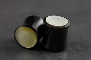 Horn and Mother of Pearl Exotic Flared Plugs