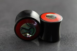 Horn Plug with Red Coral Inlay