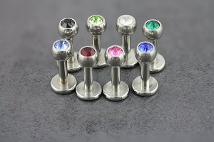 Internally Threaded Jewelled Labret Stud