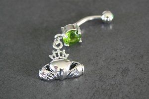 Irish Claddagh Design Solitaire Gem Belly Ring