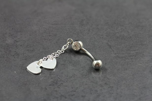 Jewel Dangle Hearts Belly Bar