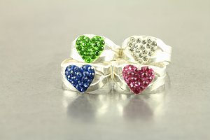Jeweled Heart Toe Rings