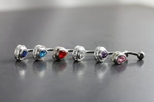 Jeweled Tear Drop Belly Bar