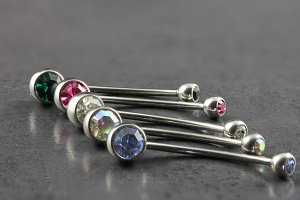 Longer Barbell Duo Gem Belly Ring