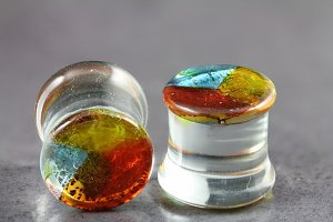 Multi Colour Hand Blown Pyrex Glass Plug