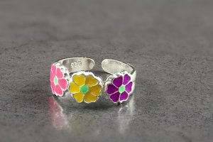 Multi Floral Toe Ring