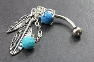 Native American Feather Belly Ring