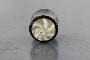 Nautilus Mother of Pearl Inlay Organic Horn Saddle Plugs