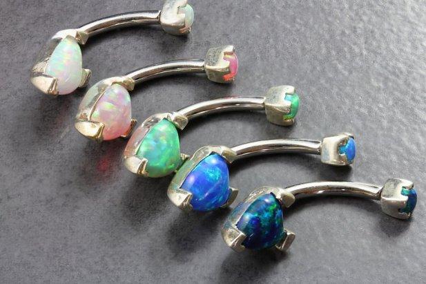 Opal Heart Belly Bar