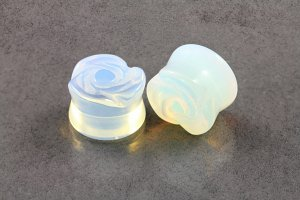 Opalite Blue Rose Carved Stone Plugs