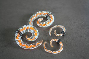 Orange and White Spiral Glass Talon