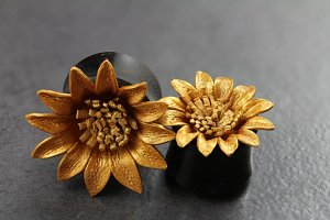 Painted Leather Golden Flower Flared Plugs
