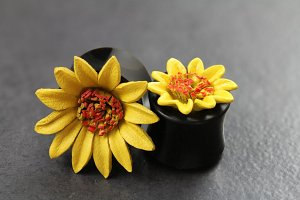Painted Leather Yellow Flower Flared Plugs