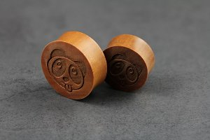 Panda Face Wooden Plugs