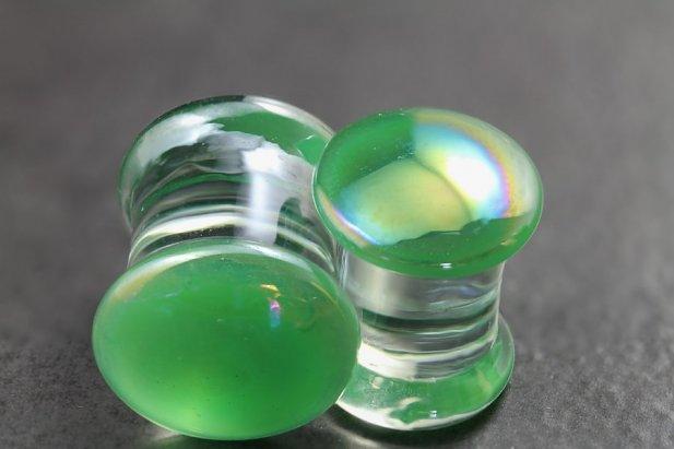 Pearl Green Glass Flared Plugs