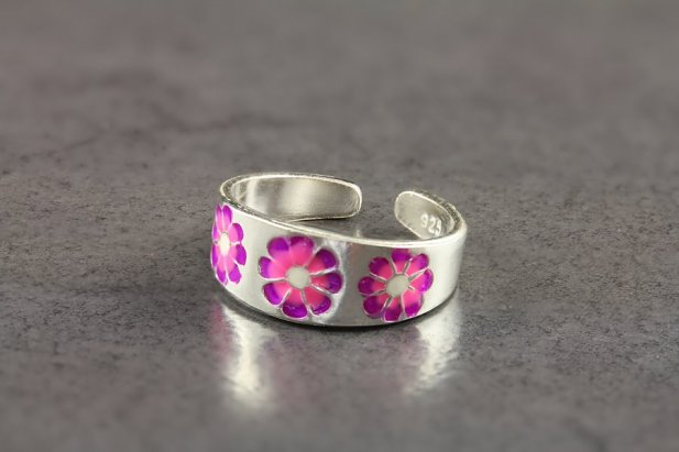 Pink and Purple Floral Toe Ring