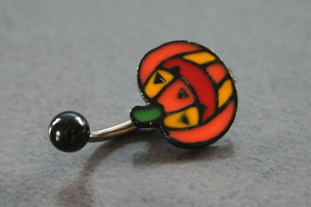 Pumpkin Face Belly Ring