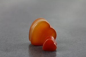 Red Agate Stone Hearts