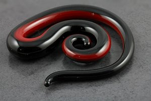 Red and Black Pyrex Glass Spiral