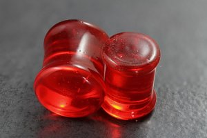 Red Glass Plugs