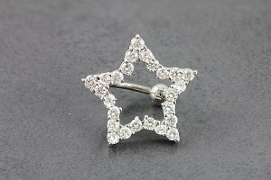 Reverse CZ Superstar Navel Ring