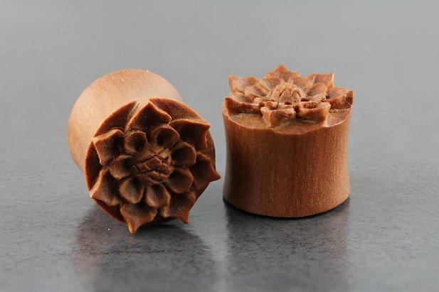 Sawo Wood Carved Flower Plugs