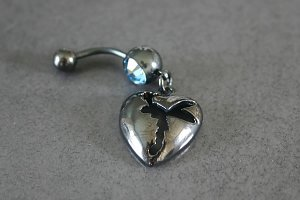 Silhouette Fairy Heart Belly Ring