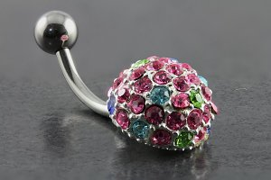 Silver Plated Large Bling Belly Bar