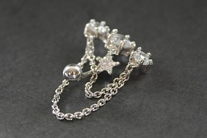 Silver Star Chain Belly Ring