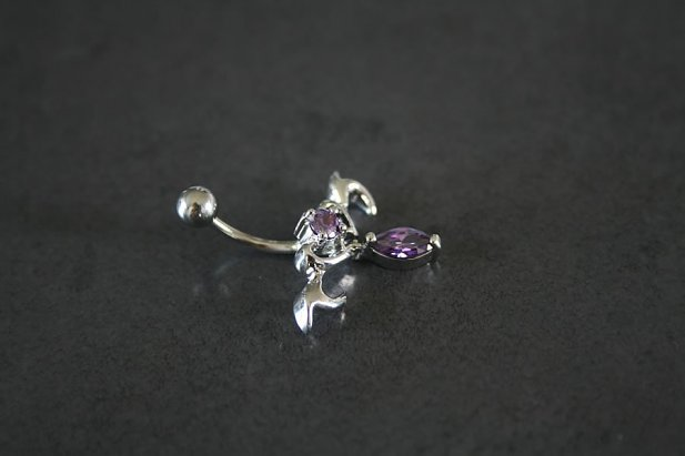 Silver Tribal Design Belly Ring