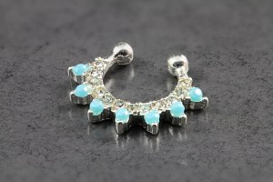 Silver Turquoise Clip On Septum Ring