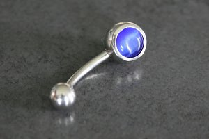 Single Jeweled Cat's Eye Belly Ring