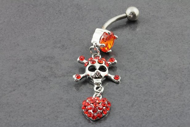 Skull Crossbone Heart Belly Ring
