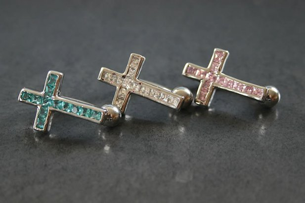 Sparkly CZ Cross Belly Ring