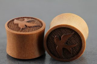 Sparrow Carved Sawo Wood Double Flared Plugs