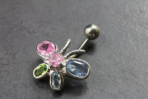 Stained Butterfly Belly Ring