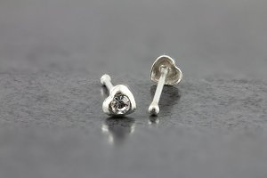 Sterling Silver Heart Nose Bone with CZ