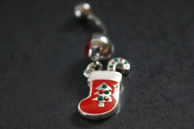 Stocking & Candy Cane Belly Ring