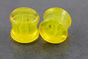 Swirl Yellow Glass Plugs