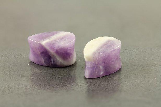 Teardrop Amethyst Stone Plugs