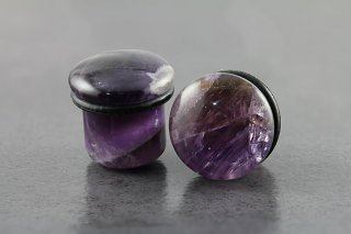 Top Hat Amethyst Stone Plug with Oring