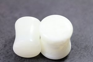 White Agate Flared Plugs