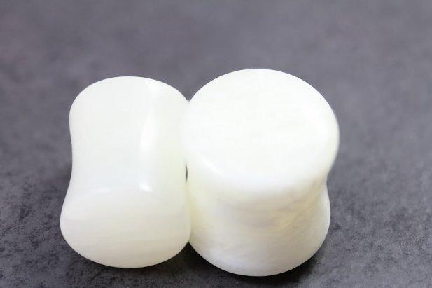 White Agate Flared Plugs