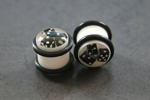 White Plugs with Black Dice