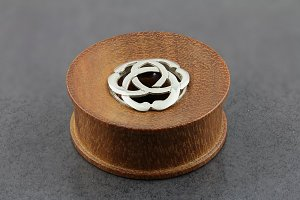 Wood Plug Tunnel with Sterling Silver Symbol