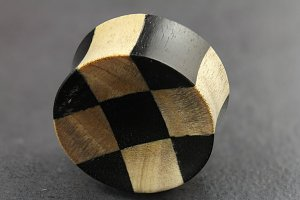 Wooden Checkerboard Flared Plugs